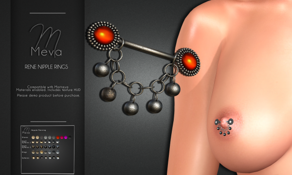 Meva - Rene Nipple Rings. L$260. Demo Available.