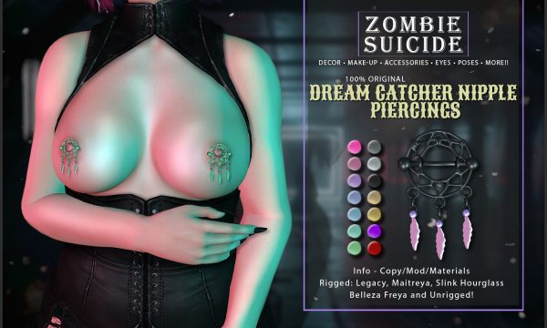Zombie Suicide - Dream Catcher Nipple Piercings. L$200. Demo Available ★.