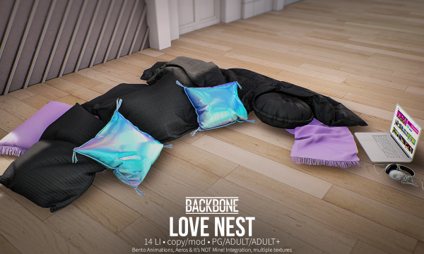 BackBone - Love Nest. PG L$599 | Adult L$1,999 | Adult + L$2,999.